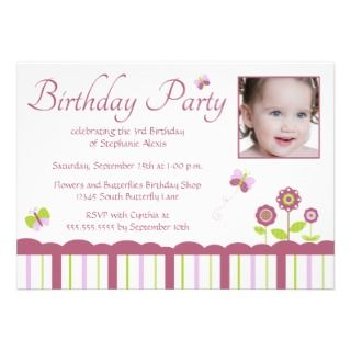 Butterfly girls photo birthday party invitation