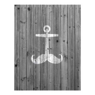 Anchstache white mustache anchor retro gray wood flyer
