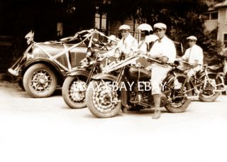 1920s Harley Davidson or Indian Motorcycles Parade Patriotic