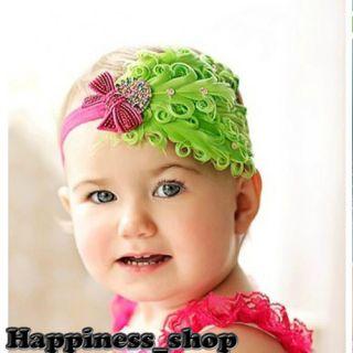 Vintage Baby Feather Flower Headbands Tutu Top Hair Accessories