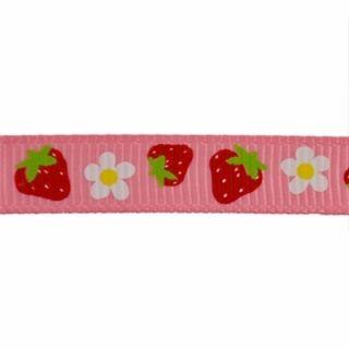 Pink Strawberry Grosgrain Ribbon Print 10yd
