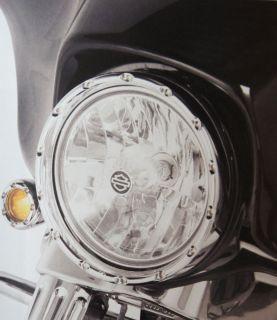 Ness Chrome Fire Ring LED Headlight Bezel Running Lights 4 Harley