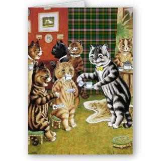 Vintage Louis Wain Cat Tea Party Card