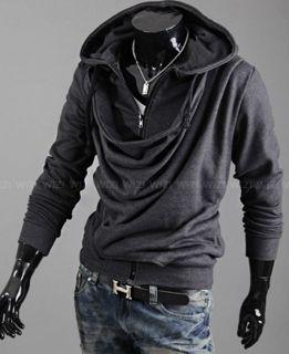 2012 Mens Slim Fit Heap Collar Design Hoody Jacket Coat 3Color 4Size