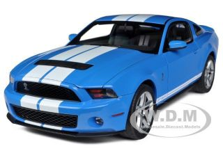 2010 SHELBY MUSTANG GT500 GRABBER BLUE WHITE STRIPES 1 18 BY AUTOART