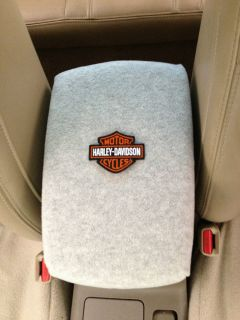 Auto Center Console Armrest Covers F6 LT.GRY W/ HARLEY DAVIDSON PATCH