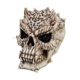 Demon Efreet Skull Statue Evil Horn Figurine 5 Tall Bonelike Resin