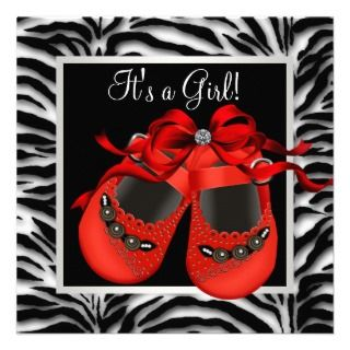 Red Black Shoes Red Zebra Baby Girl Shower Announcement