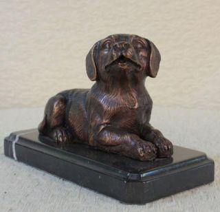 Statue Sculpture Dog Labrador Wildlife Hunting Art Deco Style Bronze