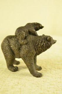 Original Bear Family Picnic Bronze Sculpture Animal Figure Statue Art