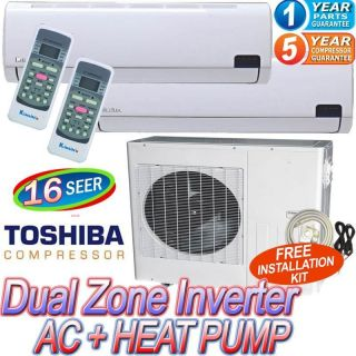 Air Conditioner AC Heat Pump 18000 BTU Dual Zone A C Heater