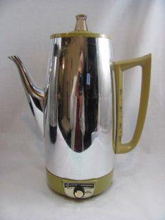Vintage Retro Chrome Mustard GE PERCOLATOR Coffee Maker Pot A5P15 USA