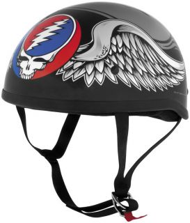 Grateful Dead Flying Steal Your Face Motorcycle Half Helmet Black LG