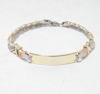 Childrens Kids Engravable Hearts & Kisses Bracelet 14K TriColor Gold
