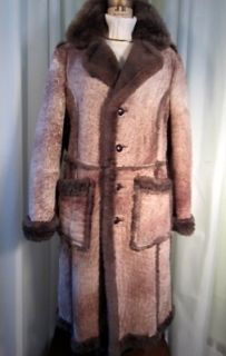 Womens Full Length Plush Sheepskin Shearling Suede Rancher Overcoat