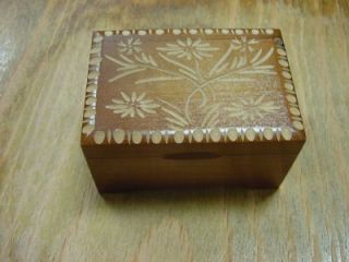 Oscar Heiss Carved Wooden Floral Music Box with Decorative Border