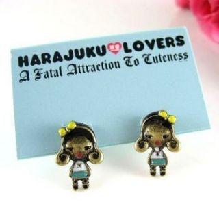 NWT VINTAGE HARAJUKU LOVERS CUTE GIRL EARRINGS STUD 158