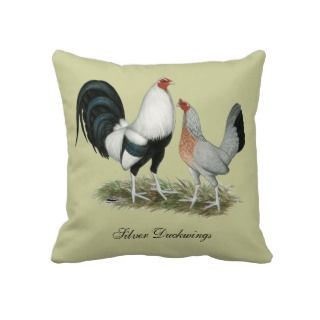 Silver Duckwing Gamefowl Pillow