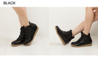 Women High Top 2 Hidden Wedge Heel Fashion Shiny Sneaker Black, Gold