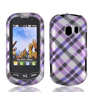 For LG Extravert Hard Protector Case Snap on Phone Cover Purple Plaid