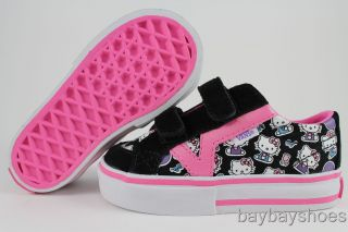 Vans Tory V Hello Kitty Black Pink White Velcro Strap Baby Toddler All