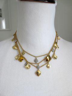 Heidi Klum for BEBE 14k Gold Clover Layer Necklace Multi Strand Charms