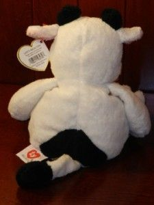 Ty Pluffies Grazer Moo Cow 2002 Plush Stuffed Baby Lovey Beanie Toy