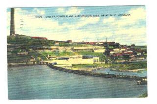 Smelter Power Plant Great Falls Montana Linen Postcard 1947