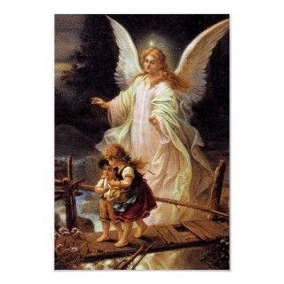 Poster depicting the classic Guardian Angel and Children Crossing