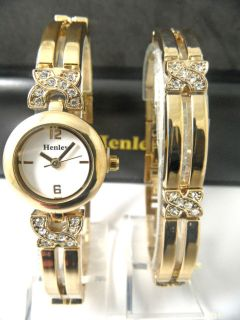 Ladies Henley Elegance Diamante Crystals Gold Tone Watch Bracelet Set