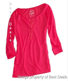 Womens AE Feather Light Henley T Shirt New Free Fast Shipping