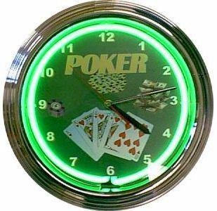 Poker Green Neon Lighted Bar Game Room Garage Clock