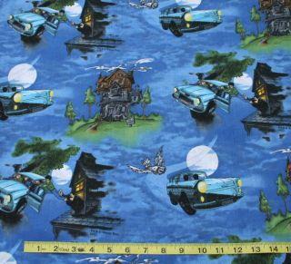 Continuous yds Harry Potter Big Flying Car Cotton Quilt Fabric