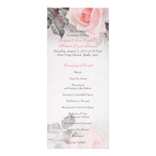 Vintage Primrose Pink Rose Wedding Program Custom Announcement