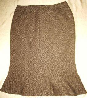 Ralph Lauren Brown Wool Blend Flare Bottom Pencil Dress Skirt 4