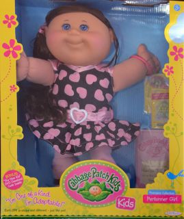 Cabbage Patch Kids Doll Harlow Taylor Long Dark Brown Hair Blue Eyes