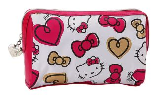 NEW SANRIO HELLO KITTY COSMETIC POUCH BAG red heart bow 2012