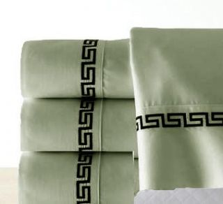 PC Luxury Embroidery Green Queen Sheet Set Flat Fitted Pillows New