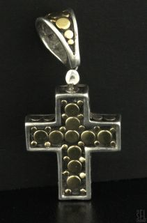 John Hardy Sterling Silver 18K Gold High Fashion Cross Crucifix