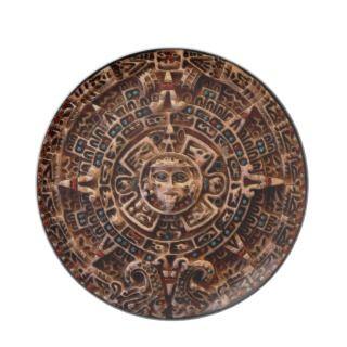 Mayan Aztec Sun Disk Ancient Calendar Art Plate