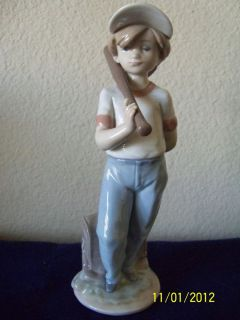 Lladro Can I Play Boy with Baseball Bat Figurine 7610