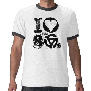 Amo la camiseta 45 RPM de la música de los años 80 de