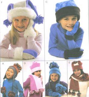Girls Boys Fleece Hats Scarves Mittens Sewing Pattern Accessories s XL