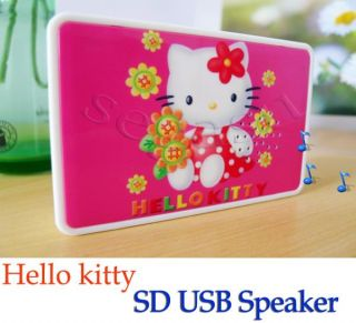 Hello Kitty Pink Portable Mini Speaker SD Card USB Memory Drive Music