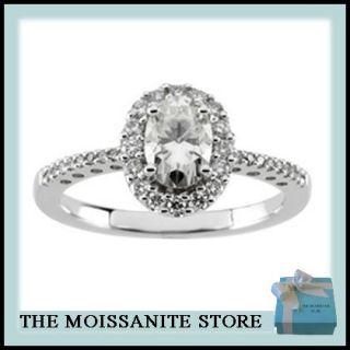 35 Ct Moissanite Oval Diamond Hallo Engagement Ring