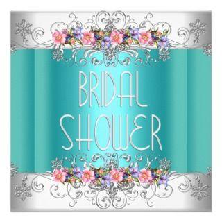 Bridal Shower Wedding Teal White Pink Flowers Custom Invites