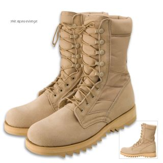 Desert Tan Military Jungle Boots Army Combat Ribbed Sol
