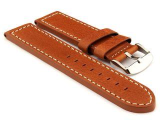 24mm Brown (Tan)/White   HAVANA Genuine Leather Watch Strap / Band