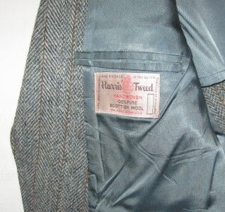 Harris Tweed Vintage Two Button Gray Wool Blazer Jacket Sport Coat Men