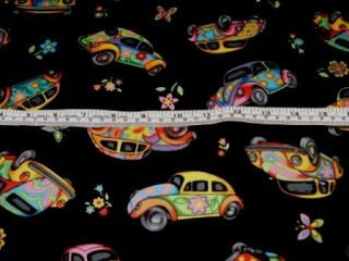 Herbie Love Bug VW Cars Flower Power Cotton Fabric